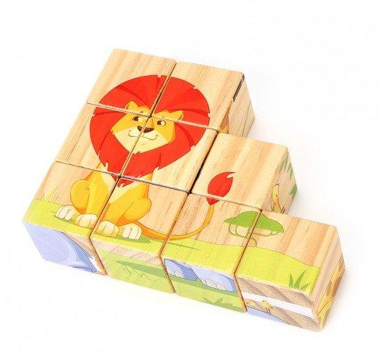 Деревянный пазл из кубиков «Животные саванны»