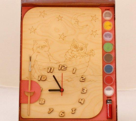 Часы с циферблатом под роспись «Кот и Сова на лодке» с красками