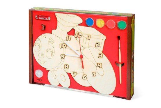 Часы с циферблатом под роспись «Паровозик» с красками