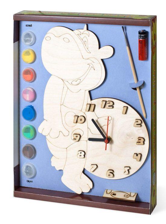 Часы с циферблатом под роспись «Бегемот» с красками