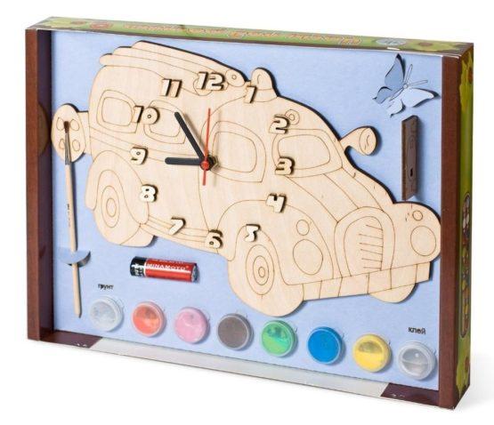 Часы с циферблатом под роспись «Машинка» с красками