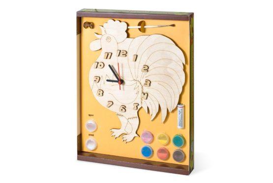 Часы с циферблатом под роспись «Петух» с красками