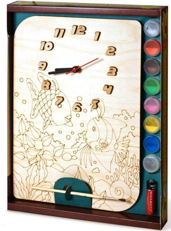 Часы с циферблатом под роспись «Рыбки» с красками