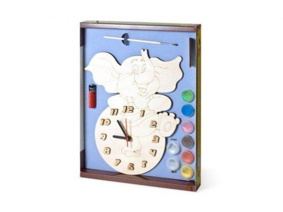 Часы с циферблатом под роспись «Слоник» с красками