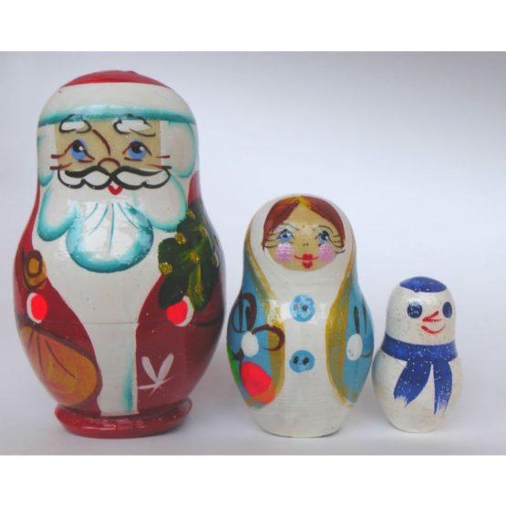 Матрешка «Дед мороз» 3 перс. (РНИ), высота 8 см.