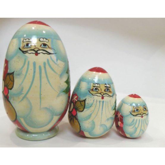 Матрешка «Дед мороз» 3 перс. (старый, новый, будущий) (РНИ)высота 12 см