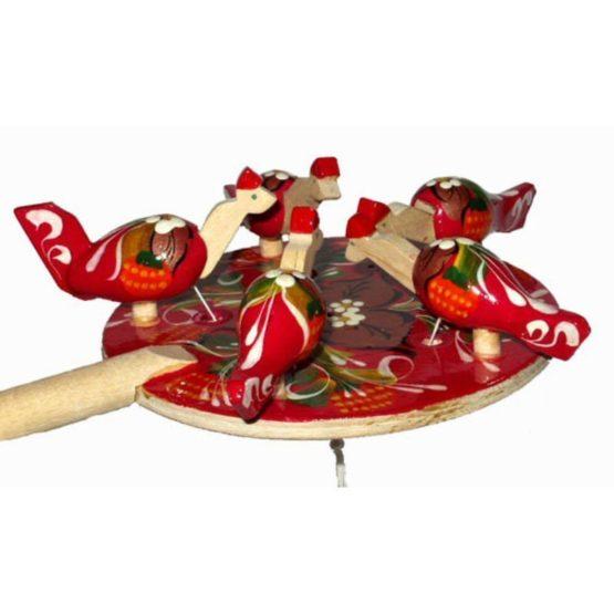 Курочки на кормушке  (РНИ) Богородская игрушка