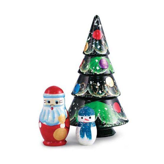 Матрешка «Ёлочка» расписная 3 в 1 (елочка, Дед Мороз, снеговик)  (РНИ)