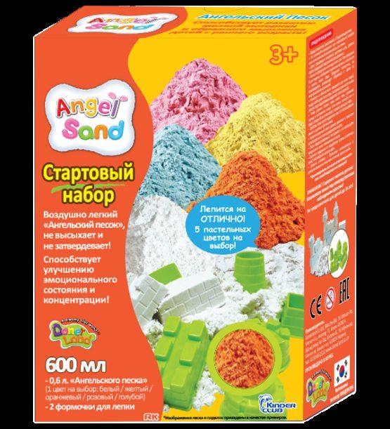 Набор песка для лепки с 2 формочками  Оранжевый 0,6л  (на русском языке)