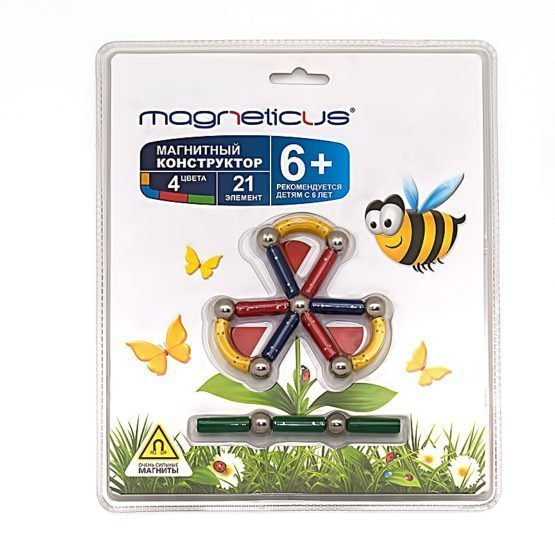 Конструктор магнитный, 21 элемент «цветок»