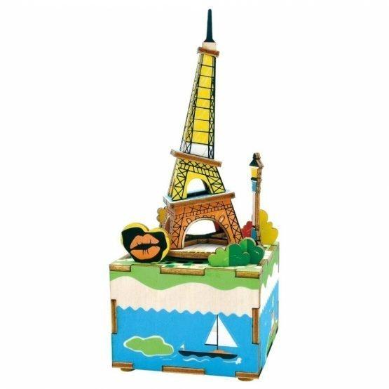Деревянный 3D конструктор — музыкальная шкатулка Robotime «Эйфелева башня»