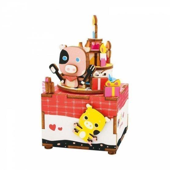 Деревянный 3D конструктор — музыкальная шкатулка Robotime «Сладкоежка»
