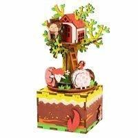 Деревянный 3D конструктор — музыкальная шкатулка Robotime «Дом на дереве»