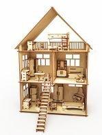 Конструктор-кукольный домик ХэппиДом «Коттедж с мебелью» из дерева