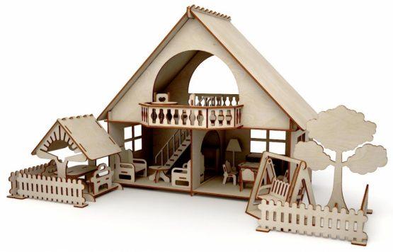 Конструктор-кукольный домик ХэппиДом «Летний дом с беседкой и качелями» из дерева