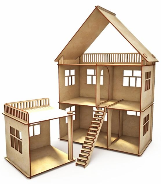 Конструктор-кукольный домик ХэппиДом «Коттедж с пристройкой» из дерева