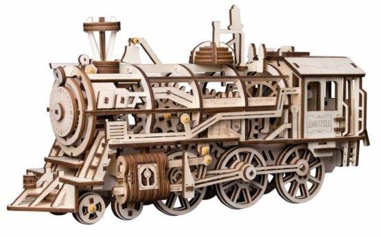 Деревянный 3D конструктор с приводом Robotime «Локомотив»