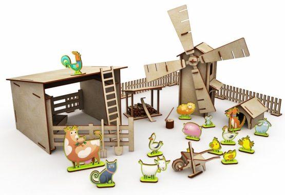 Конструктор деревянный ХэппиДом «Большая ферма с животными»