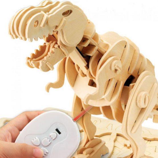 Тираннозавр. Деревянный конструктор с мотором с ДУ, звуковой контроль, звуковые эффекты