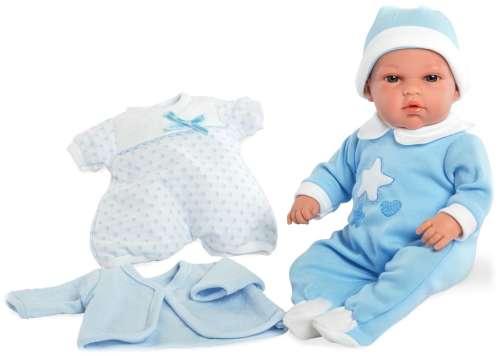Arias Elegance пупс 33 см. в голубом комбинезоне и голубой шапочке мягкое тело c комплектом одежды (кофта, комбинезон с короткими рукавами)