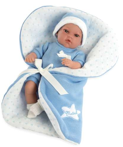 Arias Elegance пупс 33 см. в одежде мягкое тело с голубым одеялком с соской