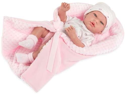 Arias Elegance пупс 38 см. в одежде виниловое тело с розовым одеялком с соской