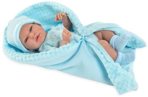Arias Elegance пупс 38 см. в одежде виниловое тело с голубым одеялком с соской