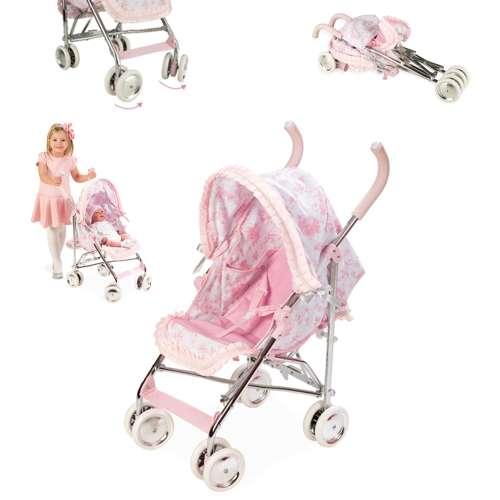 Arias Valentina коляска прогулочная для кукол металлический каркас эко-кожа текстиль складная поворот передних колёс