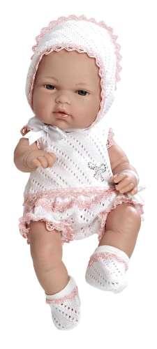 Arias ELEGANCE пупс виниловый в бело-розовом костюмчике со стразами Swarowski 33см