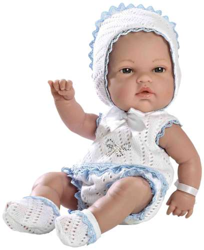 Arias ELEGANCE пупс виниловый в бело-голубом костюмчике со стразами Swarowski 33см