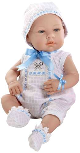 Arias ELEGANCE пупс виниловый в бело- голубом боди с цветными стразами Swarowski в виде бантика 42см