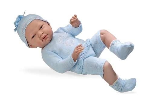 Arias ELEGANCE пупс виниловый в голубом костюмчике со стразами Swarowski в виде котёнка 52см