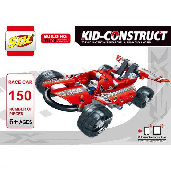 Базовый 3D-Конструктор SDL KID-CONSTRUCT «Гоночный болид, 150 деталей»